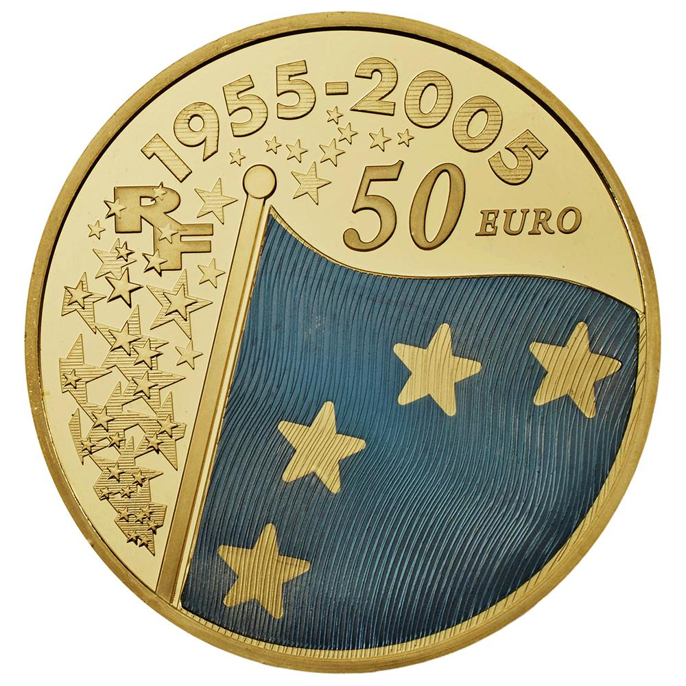 50 euros or bleu revers reduit